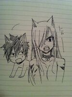 Gray and Erza as Cats