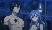 Gray and Juvia Listening to the Crowd's Cheer