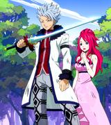 Lyon grabs Erza's sword
