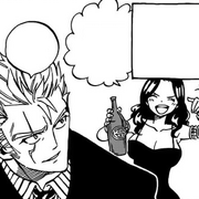 Laxus drinking with Cana