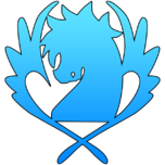 Blue pegasus symbol