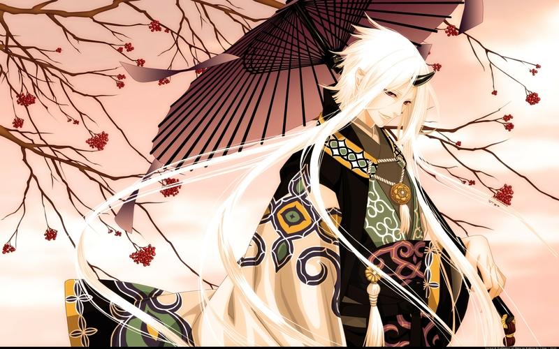 Trees Original Demons Horns Long Hair Red Eyes Male Anime Boys Umbrellas White Japanese Clothes Wallpaperto 24