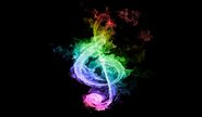 Rainbow fire music note