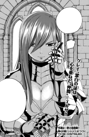 Erza with a communication lacrima