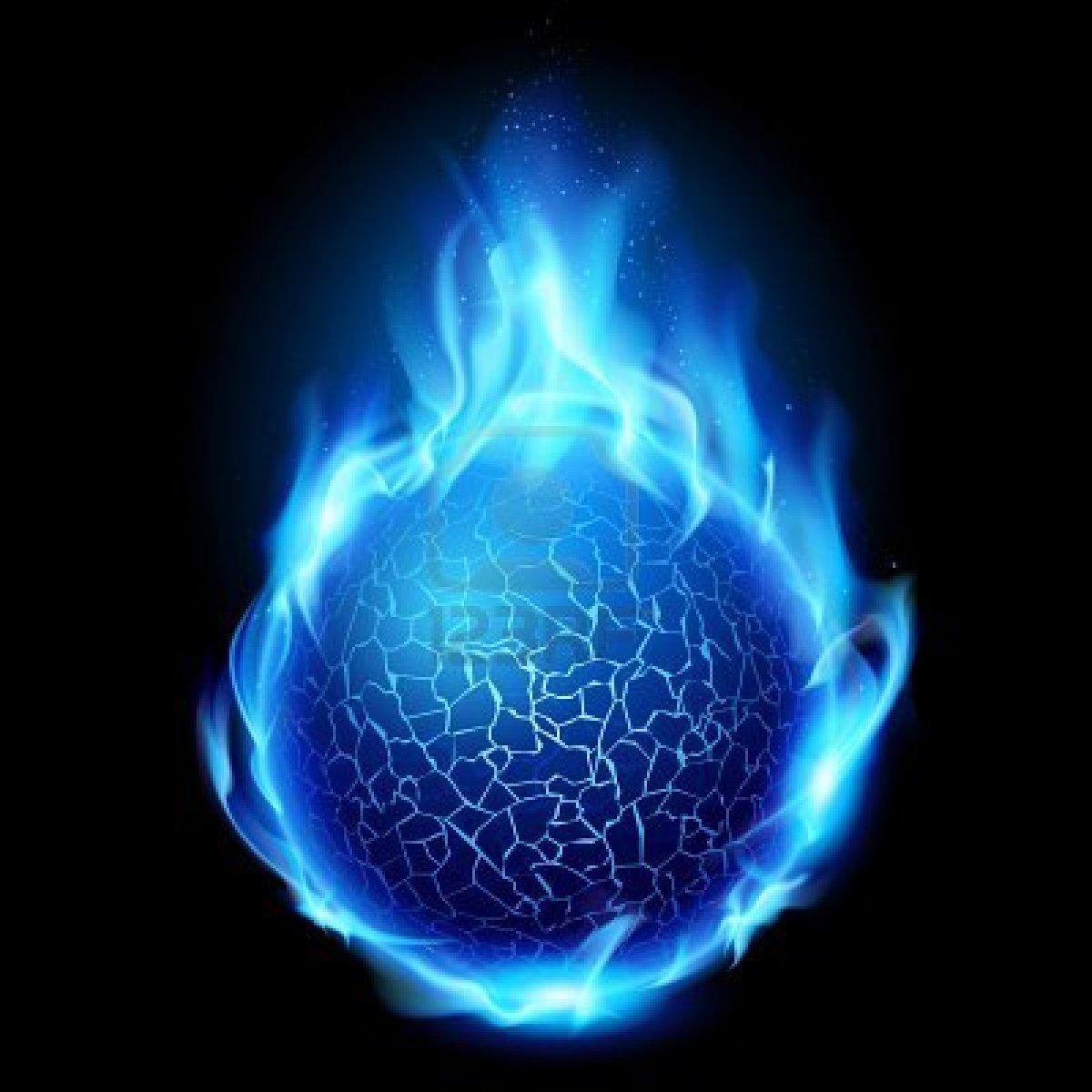 Image blue fire ball illustration on black