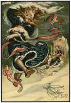 14 The Water Tsar dances - Russian Fairy Book 1916, illustrator Frank C Pape