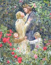 Illustration for the Brothers Grimm fairy tale Rapunzel.
