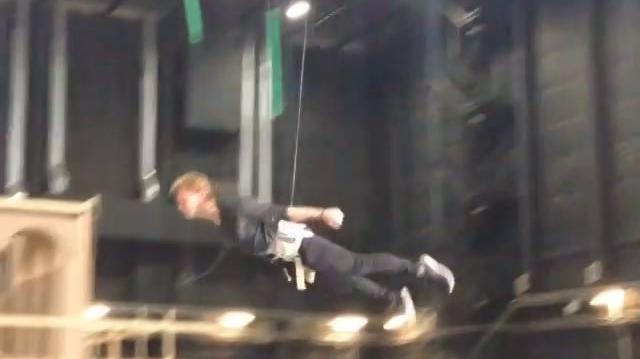 Jeremy Irvine practicing his flying skills