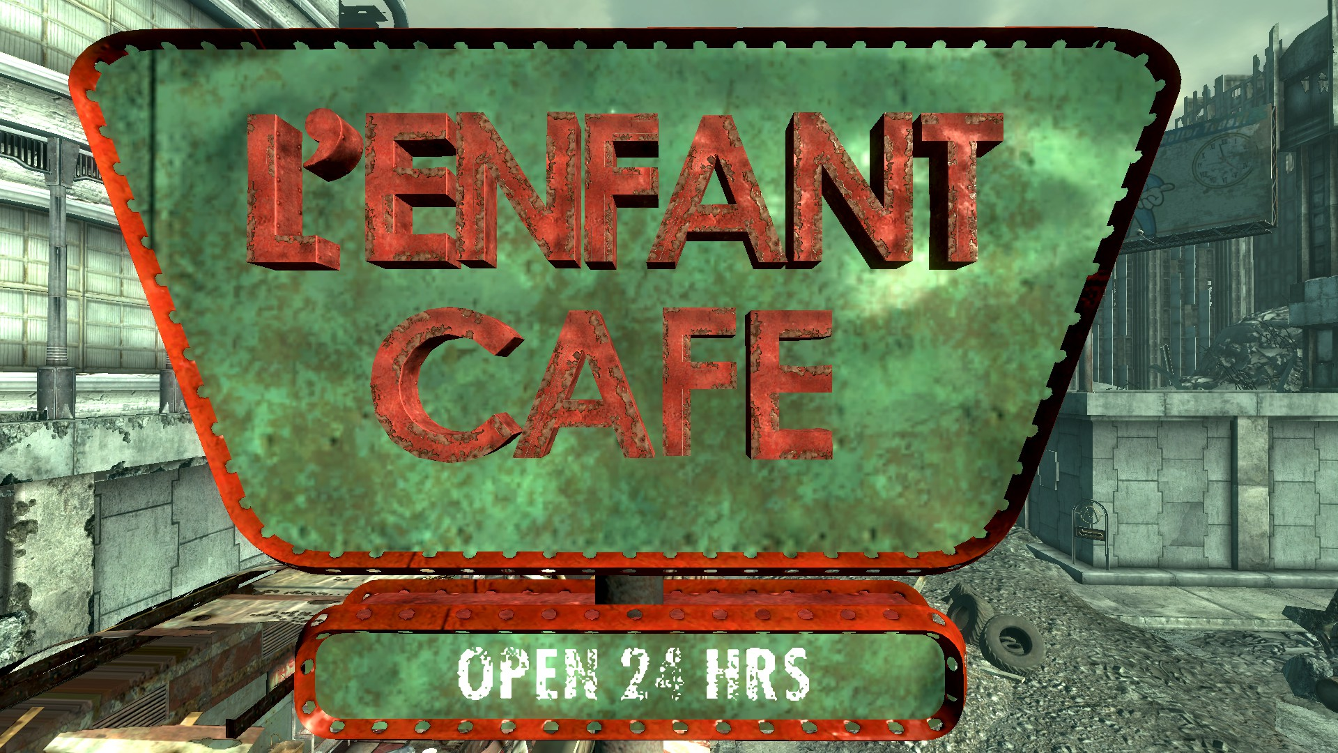 FO3 L'enfant Café sign