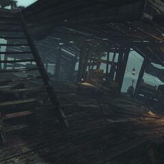 Халупа трапперів і кнопка на балкончику