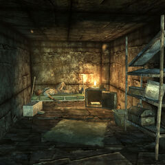 Makeshift shack interior with a wasteland reclusive