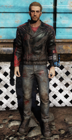 FO76WL Blood Eagle leather jacket and jeans frontM