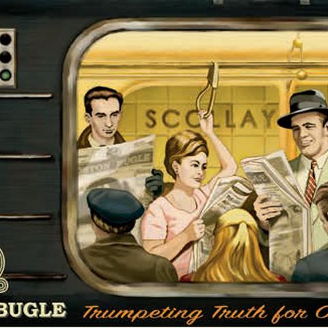 Вагон метро на станції Сколлей-сквер — рекламний плакат <a class=