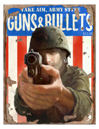 Guns and bullets take aim cover