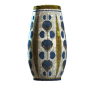 Empty floral rounded vase