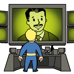 Mr. House and Vault Boy, as they appear in the achievement/trophy for <a class=