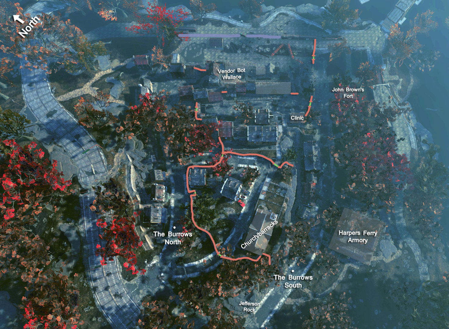FO76 Harpers Ferry map labeled