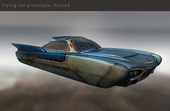 FO76 flying car proto rusted (Katya Gudkina concept art)