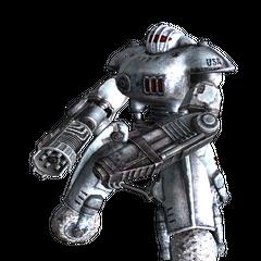 Робот-охоронець у зимовій розмальовці з гатлинг-лазером <span style=