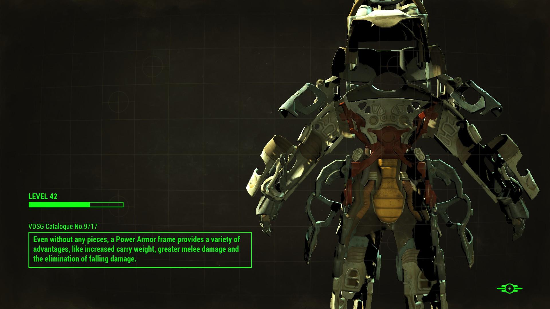 Back power armor frame
