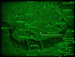 FO4 Лагерь рейдеров в восточной части Института (карта мира)