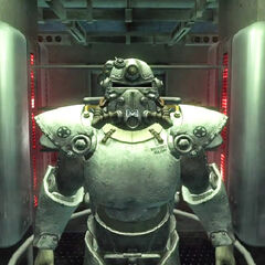 The winterized T-51b power armor from the <a href=