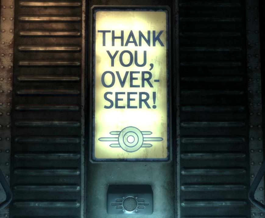 Vault 101 Thank you, Over-seer!