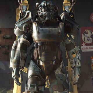A power armor station as seen in the Fallout 4 trailer