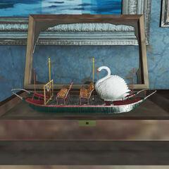 Модель човна з лебедем