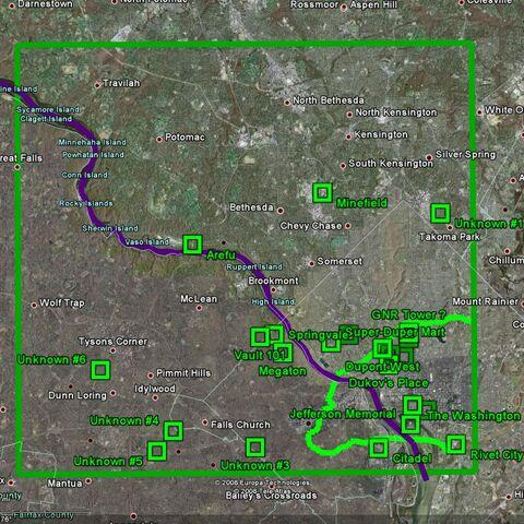 Порівняння карти Пустки з картою реального округу Колумбія. <a href=