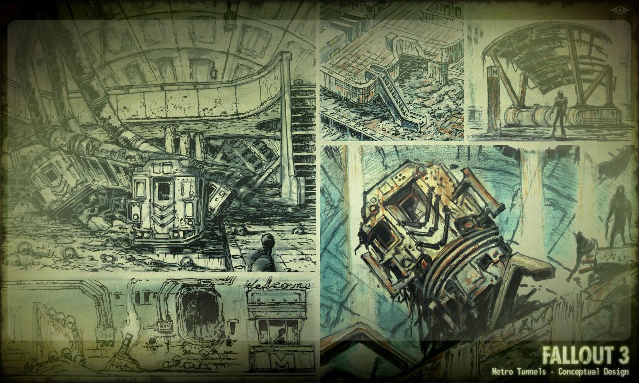 image fallout 3 metro tunnels level design concept art jpg