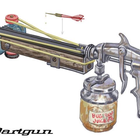 Dart gun concept art by Adam Adamowicz.