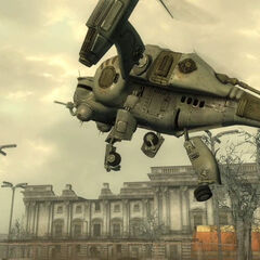 A gunship Vertibird outside <a href=