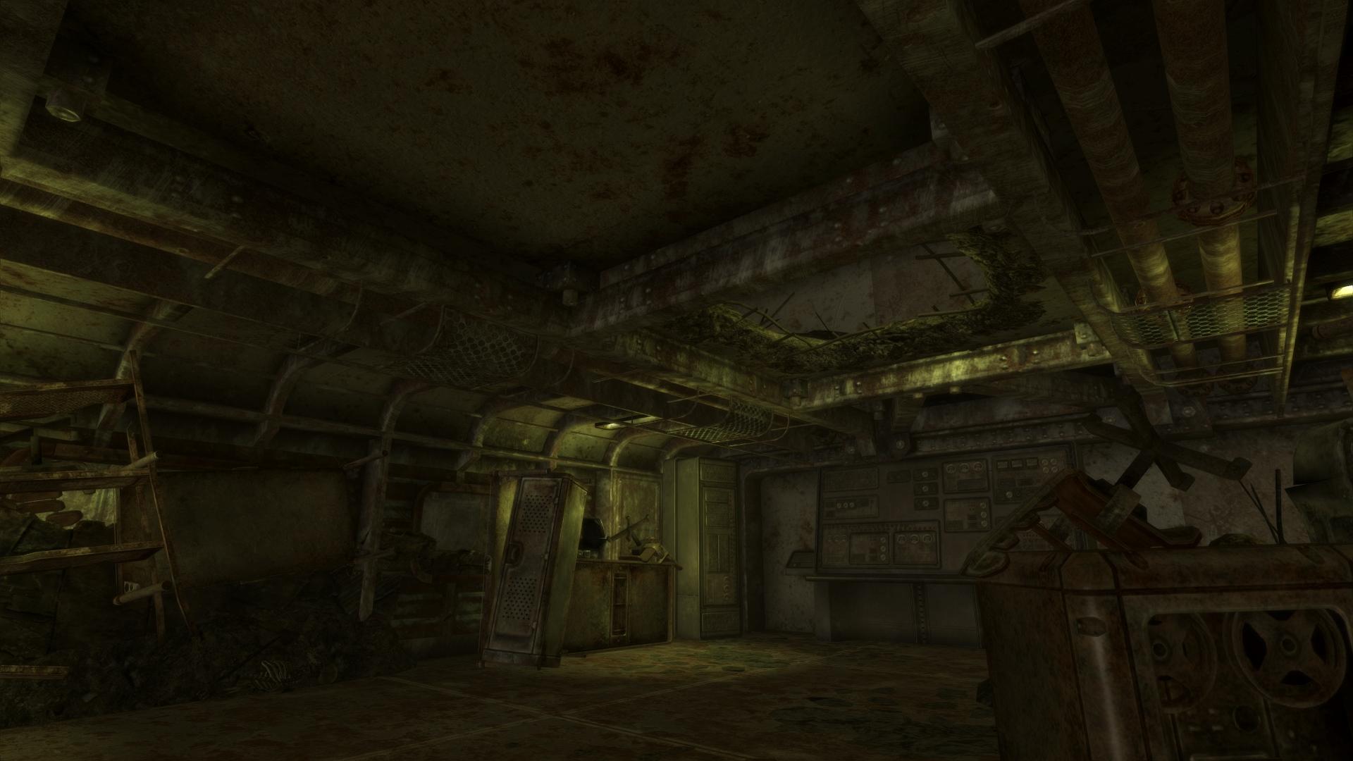 Broken ceiling in Vault 34