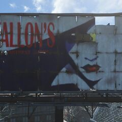 Fallon's Department Store billboard in the downtown area of the Commonwealth
