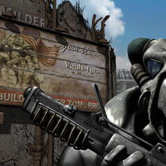 Enclave soldiers in advanced power armor in front of a pre-War poster depicting the T-51b power armor