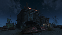 FO4 General Atomics Factory at night