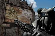 Żołnierz enklawy na tle plakatu