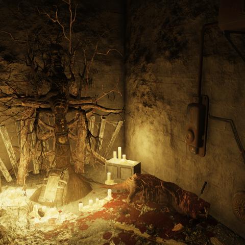 Shrine with sacrificed mole rat in the house basement near Wilson Brother's Auto Repair