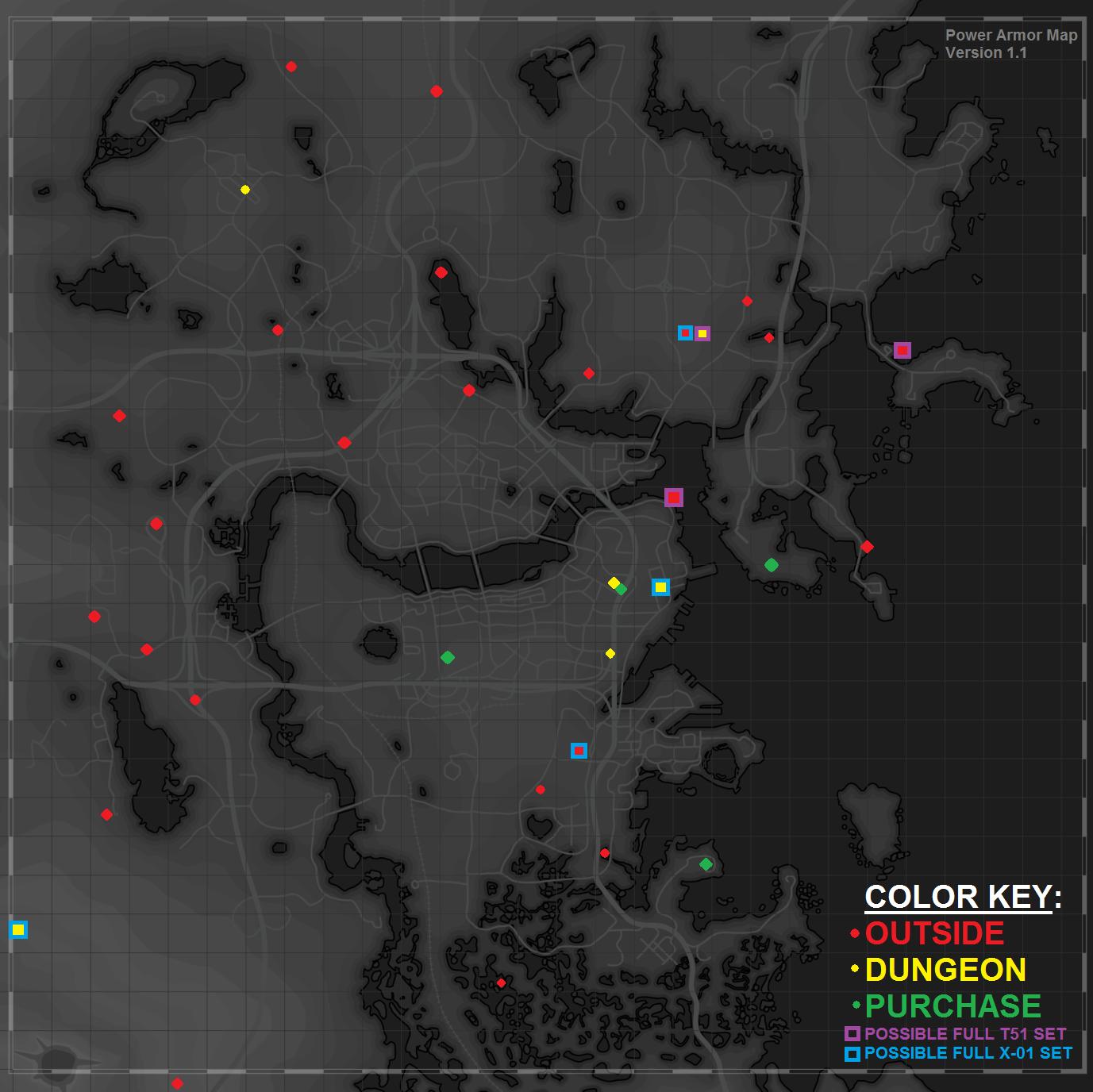 Fallout 4 - Power Armor Frames Map