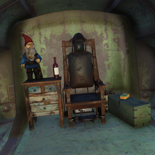 Electric chair and gnome inside a trailer