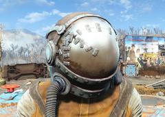 Damaged hazmat suit helmet