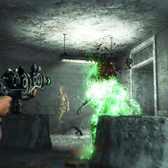 A plasma rifle critical hit on a raider