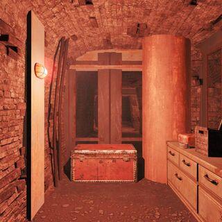 Скриня зі зброєю і боєприпасами у замкненій кімнаті
