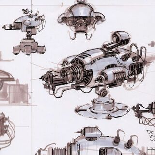 An initial concept of the turret, which includes a Mr. Handy-like eye