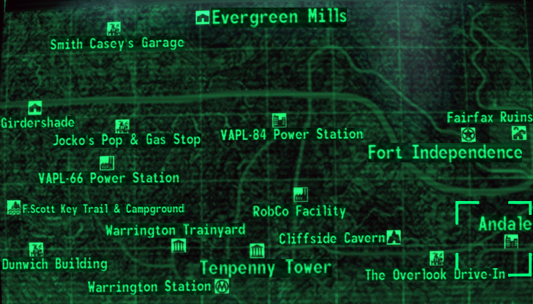 Full fallout 3 map | Full new vegas map with names! : Fallout: New ...