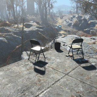Chairs overlooking the road