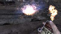 Nuka detonation with blue glow