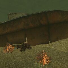 The sunken tugboat