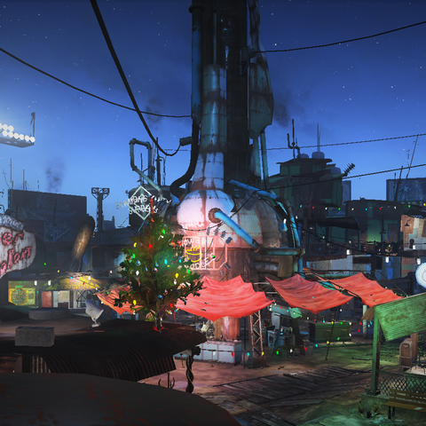 Diamond City Market with Christmas decorations.